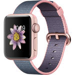 Apple Watch Series 2 38mm Smartwatch (Rose Gold Aluminum Case, Light Pink/Midnight Blue Woven Nylon Band)