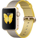 Apple Watch Series 2 38mm Smartwatch (Gold Aluminum Case, Yellow/Light Gray Woven Nylon Band)
