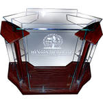 AmpliVox Sound Systems Deluxe Acrylic Floor Lectern (Cherry)
