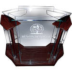 "AmpliVox Sound Systems Deluxe Clear Acrylic Floor Lectern with Mahogany Wood Accent (42"" Width)"
