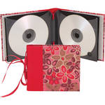 "Lineco Ribbon Bound 12 CD Holder Kit (Pink-Red Flower Cover, 5.25 x 6"")"