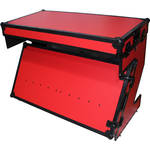 ProX Portable Z-Style DJ Table Flight Case with Handles & Wheels (Red/Black)