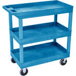 "Luxor 32 x 18"" Tub Cart with Three Shelves (Plastic, Blue)"