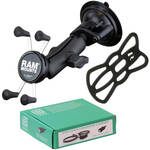 RAM MOUNTS Twist Lock Suction Cup Mount Kit with Universal X-Grip Cradle & USB Type A Step Down Converter/Charger