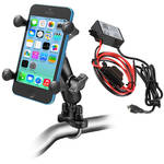 RAM MOUNTS Handlebar Rail Mount Kit with Universal X-Grip Cradle & Micro-USB Type B Step Down Converter/Charger