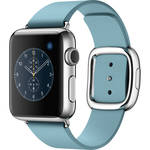 Apple Watch 38mm Smartwatch (2015, Stainless Steel Case, Blue Jay Medium Modern Buckle Band)