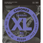 D'Addario ECG24 Jazz Light Chromes Flat Wound Electric Guitar Strings (6-String, 11 - 50)