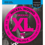D'Addario EXL170-5 Light XL Nickel Wound Electric Bass Strings (5-String, Long Scale, 45 - 130)