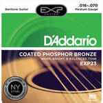 D'Addario EXP23 Medium Coated Phosphor Bronze Acoustic Baritone Guitar Strings (6-String Set, 16 - 70)