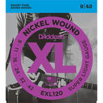 D'Addario EXL120 Super Light XL Nickel Wound Electric Guitar Strings (6-String Set, 9 - 42)