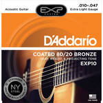 D'Addario EXP10 Extra Light Coated 80/20 Bronze Acoustic Guitar Strings (6-String Set, 10 - 47)