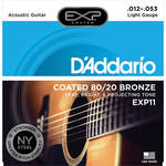 D'Addario EXP11 Light Coated 80/20 Bronze Acoustic Guitar Strings (6-String Set, 12 - 53)