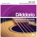 D'Addario EJ38H High Strung/Nashville Tuning Phosphor Bronze Acoustic Guitar Strings (6-String Set, 10 - 27)