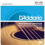 D'Addario EJ16 Light Phosphor Bronze Acoustic Guitar Strings (6-String Set, 12 - 53)