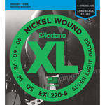 D'Addario EXL220-5 Super Light XL Nickel Wound Electric Bass Strings (5-String, Long Scale, 40 - 125)