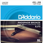 D'Addario EJ73 Light Phosphor Bronze Mandolin Strings (8-String Set, Loop End, 10 - 38)
