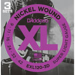 D'Addario EXL120-3D Super Light XL Nickel Wound Multi-Pack Electric Guitar Strings (6-String Set, 9 - 42, 3-Pack)