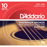 D'Addario EJ17-10P Medium Phosphor Bronze Pro-Pack Acoustic Guitar Strings (6-String Set, 13 - 56, 10-Pack)