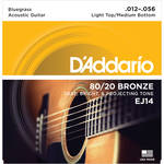D'Addario EJ14 Light Top/Medium Bottom Bluegrass 80/20 Bronze Acoustic Guitar Strings (6-String Set, 12 - 56)