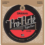 D'Addario EJ49 Normal Tension Pro-Arte Black Nylon Classical Guitar Strings (6-String Set, Black Nylon 28 - 43)
