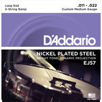 D'Addario EJ57 Custom Medium Nickel Plated Steel Banjo Strings (5-String Set, Loop End, 11 - 22)