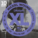 D'Addario EXL115-10P Medium/Blues-Jazz Rock XL Nickel Wound Pro-Pack Electric Guitar Strings (6-String Set, 11 - 49, 10-Pack)