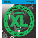 D'Addario EXL220M Super Light XL Nickel Wound Electric Bass Strings (4-String, Medium Scale, 40 - 95)