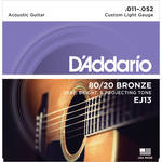 D'Addario EJ13 Custom Light 80/20 Bronze Acoustic Guitar Strings (6-String Set, 11 - 52)