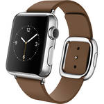 Apple Watch 38mm Smartwatch (2015, Stainless Steel Case, Brown Medium Modern Buckle Band)