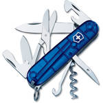 Victorinox Climber Pocket Knife (Translucent Sapphire, Clamshell Packaging)