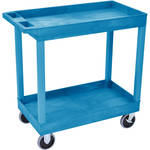 "Luxor 32 x 18"" Tub Cart with Two Shelves (Plastic, Blue)"