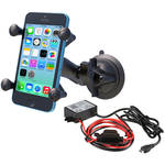 RAM MOUNTS Twist Lock Suction Cup Mount Kit with Universal X-Grip Cradle & Micro-B USB Step Down Converter/Charger