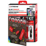 "Xtreme Cables All-in-1 Wall / Car Power Charging Kit with 8"" Micro-USB Cable (Red)"