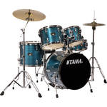 "TAMA IP58CHLB Imperialstar 5-Piece Drum Set with Cymbals (18"" Bass Drum, Hairline Blue)"