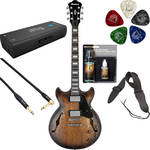Ibanez AMV10A Artcore Vintage Series Hollow-Body Electric Guitar Starter Recording Kit (Tobacco Burst Low Gloss)