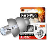 Alpine Hearing Protection PartyPlug Single-Attenuator Molded Earplugs (Silver/Gray)