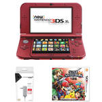 Nintendo 3DS XL Kit with Super Smash Bros. & AC Adapter (2015 Version, Red)
