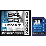 Delkin Devices 64GB Cinema 1050x Compact Flash & 32GB 633x UHS-I SDHC Memory Card Kit