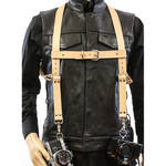 Funk Plus Ring Back Dual-Camera Cowhide Leather Harness with Chest Adjuster (Beige)