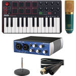 Akai Professional MPK mini MKII Keyboard/Pad Controller with PreSonus AudioBox USB Interface and MXL V67G Microphone Kit