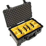 Pelican 1510 Carry On Case with Yellow and Black Divider Set (Black)