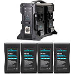 IndiPRO Tools Four Compact 95Wh V-Mount Li-Ion Batteries and Quad Pro V-Mount Battery Charger Kit