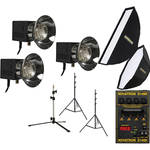 Novatron D1500 Three Fan-Cooled Head Kit with Two Softboxes