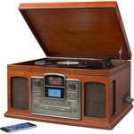 Crosley Radio CR2405D-PA Director CD Recorder with Turntable, AM/FM Radio, and Bluetooth