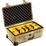 Pelican 1510 Carry On Case with Yellow and Black Divider Set (Desert Tan)