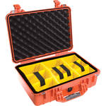 Pelican 1504 Waterproof 1500 Case with Yellow and Black Divider Set (Orange)