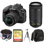 Nikon D3400 with 18-55mm and 70-300mm Lenses Solar Eclipse Kit
