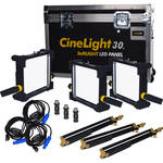 Fluotec CineLight Production 30 Tunable SoftLIGHT LED Panel 3-Light Kit (Gold Mount Battery Plate and AC Power)