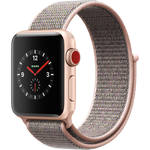 Apple Watch Series 3 38mm Smartwatch (GPS + Cellular, Gold Aluminum Case, Pink Sand Sport Loop)