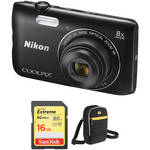 Nikon COOLPIX A300 Digital Camera with Free Accessory Kit (Black)